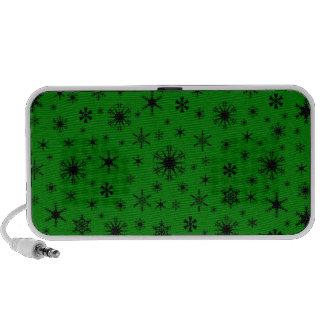 Snowflakes – Black on Green Notebook Speaker