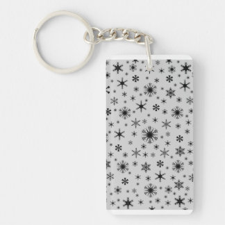 Snowflakes - Black on Light Gray Rectangle Acrylic Keychains