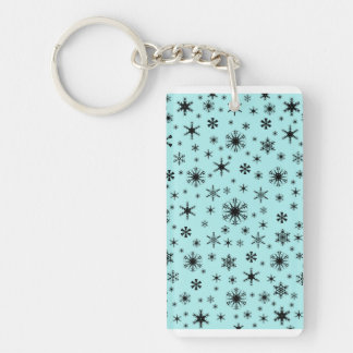 Snowflakes - Black on Pale Blue Rectangle Acrylic Keychain