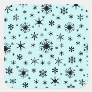 Snowflakes – Black on Pale Blue Sticker