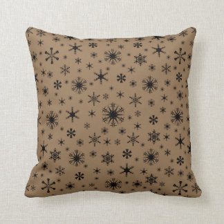 Snowflakes - Black on Pale Brown Cushion