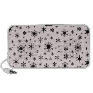 Snowflakes – Black on Pale Pink Mini Speaker