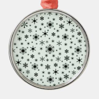 Snowflakes – Black on Pastel Green Ornament