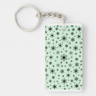 Snowflakes - Black on Pastel Green Acrylic Key Chains