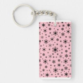 Snowflakes - Black on Pink Acrylic Key Chain