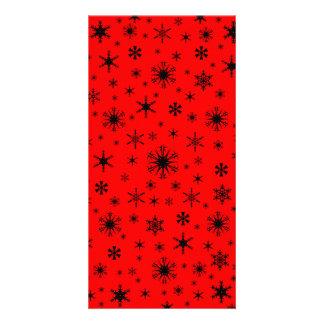 Snowflakes - Black on Red Custom Photo Card