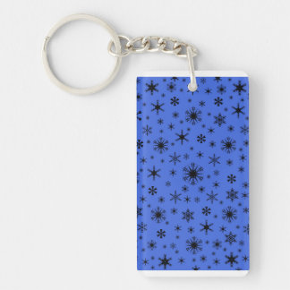 Snowflakes - Black on Royal Blue Rectangle Acrylic Keychains
