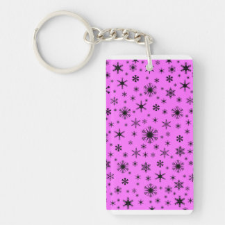 Snowflakes - Black on Ultra Pink Acrylic Keychains