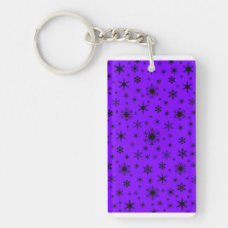 Snowflakes - Black on Violet Acrylic Keychain