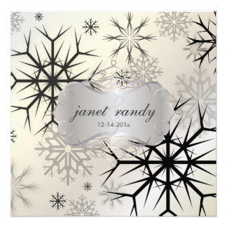 Snowflakes Black Winter Wedding Invitations