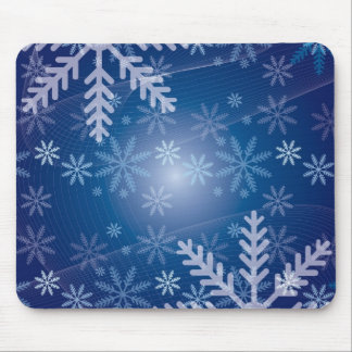 Snowflakes Blue Background Mousepad
