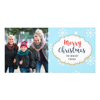 Snowflakes Blue Merry Christmas Picture Photo Card