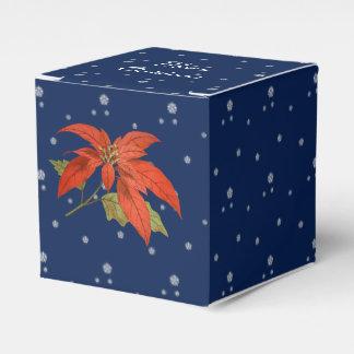 Snowflakes, blue sky, poinsettia. Merry Christmas Favour Box