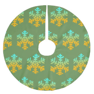 Snowflakes Blue Yellow Custom Tree Skirt