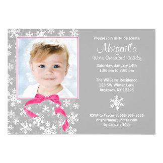 Snowflakes Bow Winter Onederland Photo Birthday Personalized Invites