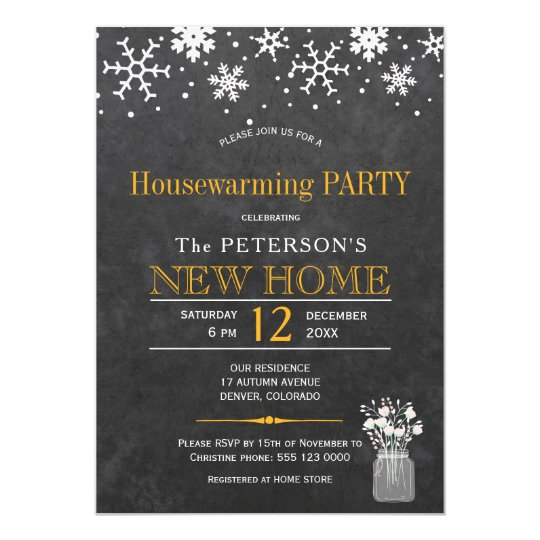 Snowflakes chalkboard winter housewarming party card