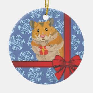 Snowflakes Christmas Hamster Christmas Ornament