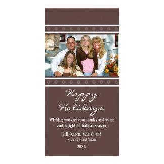 Snowflakes Christmas Photo Card-chocolate brown