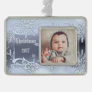 Snowflakes Christmas Photo Ornament