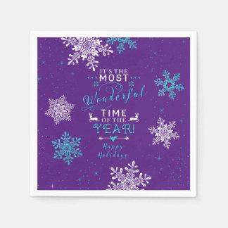 Snowflakes Christmas Xmas Purple Turquoise Paper Napkin
