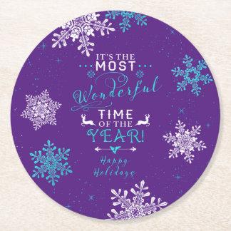 Snowflakes Christmas Xmas Purple Turquoise Round Paper Coaster