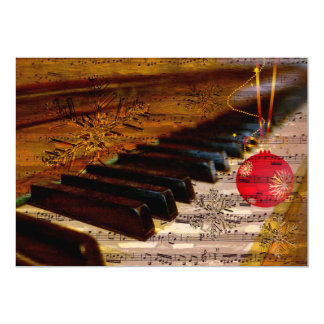 snowflakes collage rustic pianist holiday Cards