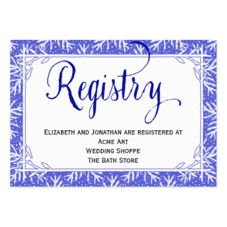 Snowflakes Country Wedding Registry Card Pack Of Chubby Business Cards