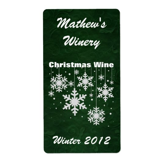 Snowflakes Custom Holiday Mini Wine Labels