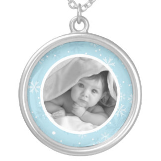 Snowflakes Customizable Photo Silver Plated Necklace