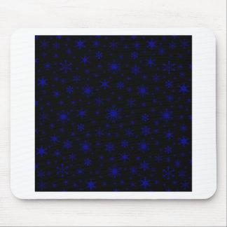 Snowflakes – Dark Blue on Black Mousepad