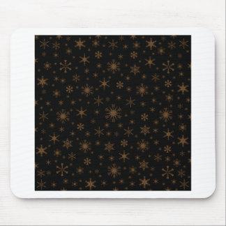 Snowflakes – Dark Brown on Black Mouse Pads