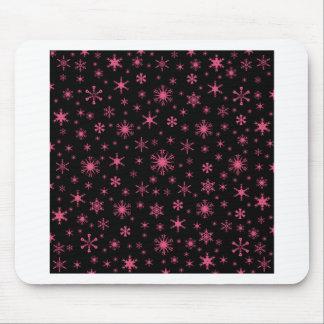 Snowflakes – Dark Pink on Black Mousepad