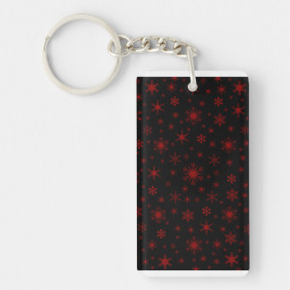 Snowflakes - Dark Red on Black Rectangle Acrylic Key Chains