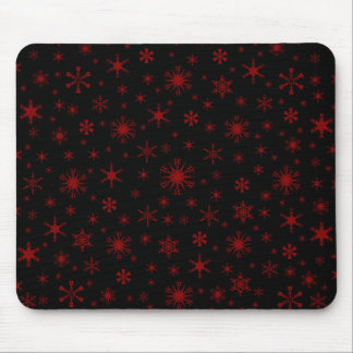 Snowflakes - Dark Red on Black Mouse Pad