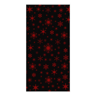Snowflakes - Dark Red on Black Photo Card Template