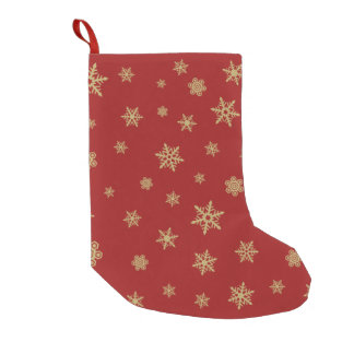 Snowflakes Design Gold on Red Small Christmas Stocking