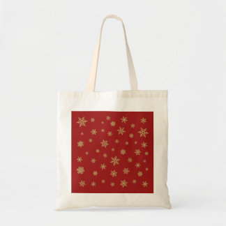 Snowflakes Design Gold on Red Tote Bag