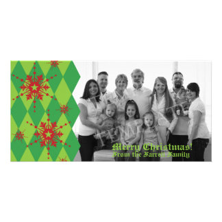 Snowflakes & Diamond Christmas Family Photo Card