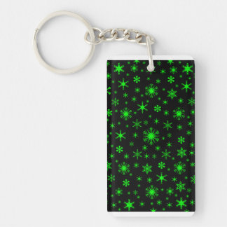 Snowflakes - Electric Green on Black Rectangle Acrylic Keychain