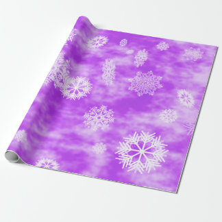 Snowflakes Fall Purple Wrapping Paper
