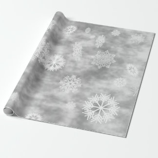 Snowflakes Fall Silver Grey Wrapping Paper
