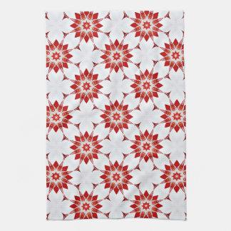 Snowflakes Flowers in Red Tea Towel