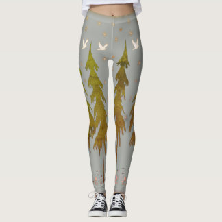 Snowflakes Forest Leggings