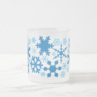SNOWFLAKES FROSTED GLASS COFFEE MUG