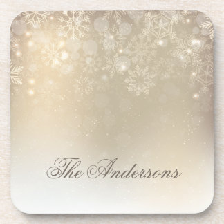 Snowflakes Gold Personalized Hol | Plastic Coaster