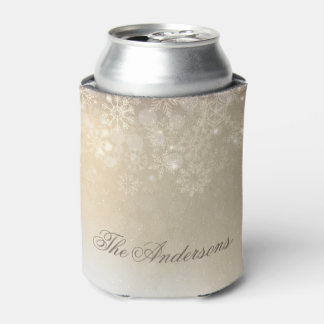 Snowflakes Gold Personalized Holiday | Can Cooler