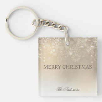 Snowflakes Gold Personalized Holiday | Keychain
