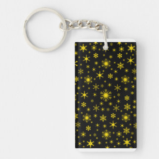 Snowflakes - Golden Yellow on Black Rectangle Acrylic Keychains