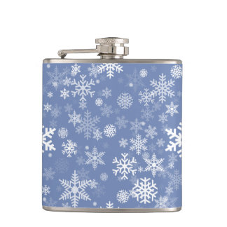 Snowflakes Graphic Customize Color Background on a Hip Flask