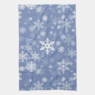 Snowflakes Graphic Customize Color Background on a Tea Towel